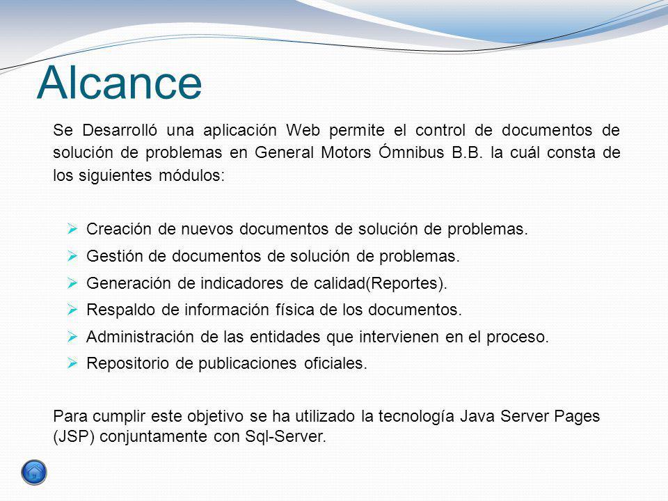 Alcance Se Desarrolló una aplicación Web permite el control de documentos de solución de problemas en General Motors Ómnibus B.B. la cuál consta de lo