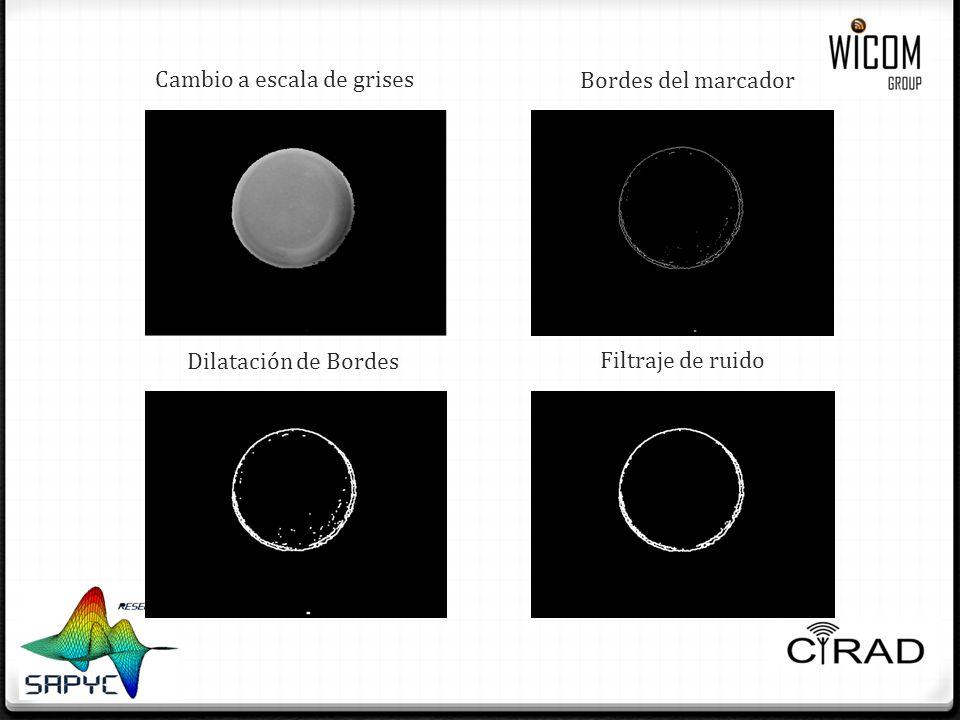 Cambio a escala de grises Bordes del marcador Dilatación de Bordes Filtraje de ruido