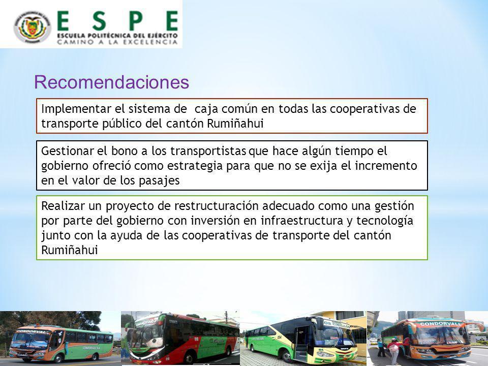 Recomendaciones Implementar el sistema de caja común en todas las cooperativas de transporte público del cantón Rumiñahui Gestionar el bono a los tran