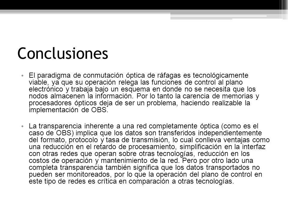 Conclusiones Un nodo OBS no dispone de unidades de almacenamiento, pero si de un sistema de contención.
