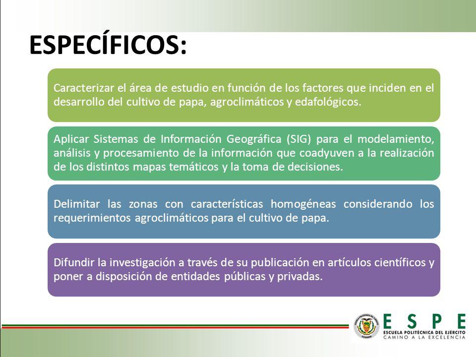 ESPECÍFICOS: Caracterizar el área de estudio en función de los factores que inciden en el desarrollo del cultivo de papa, agroclimáticos y edafológico