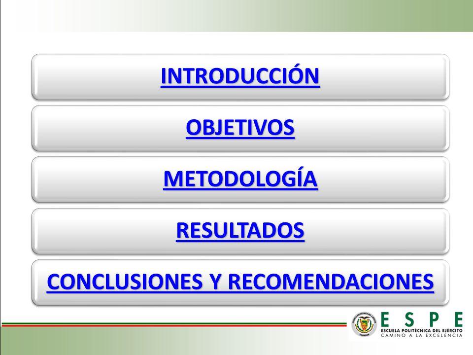 INTRODUCCIÓN OBJETIVOS METODOLOGÍA RESULTADOS CONCLUSIONES Y RECOMENDACIONES CONCLUSIONES Y RECOMENDACIONES