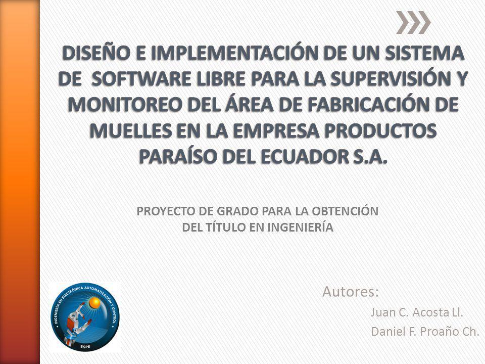 Autores: Juan C. Acosta Ll. Daniel F. Proaño Ch. PROYECTO DE GRADO PARA LA OBTENCIÓN DEL TÍTULO EN INGENIERÍA