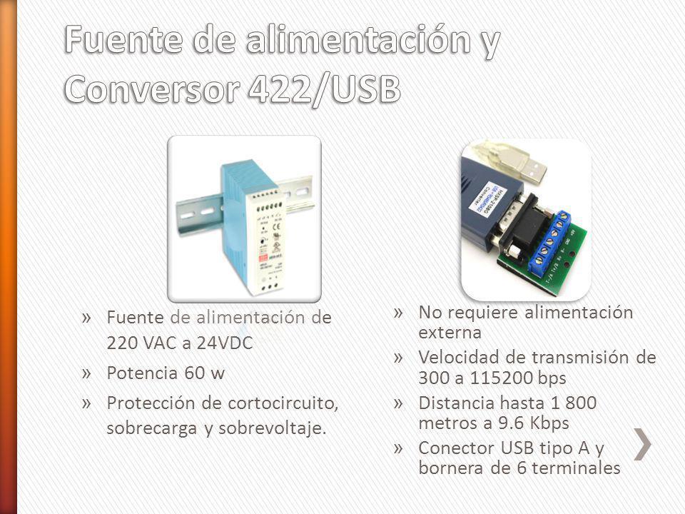 » Fuente de alimentación de 220 VAC a 24VDC » Potencia 60 w » Protección de cortocircuito, sobrecarga y sobrevoltaje. » No requiere alimentación exter