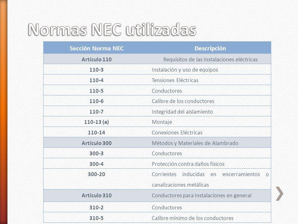Sección Norma NECDescripción Artículo 110Requisitos de las Instalaciones eléctricas 110-3Instalación y uso de equipos 110-4Tensiones Eléctricas 110-5C