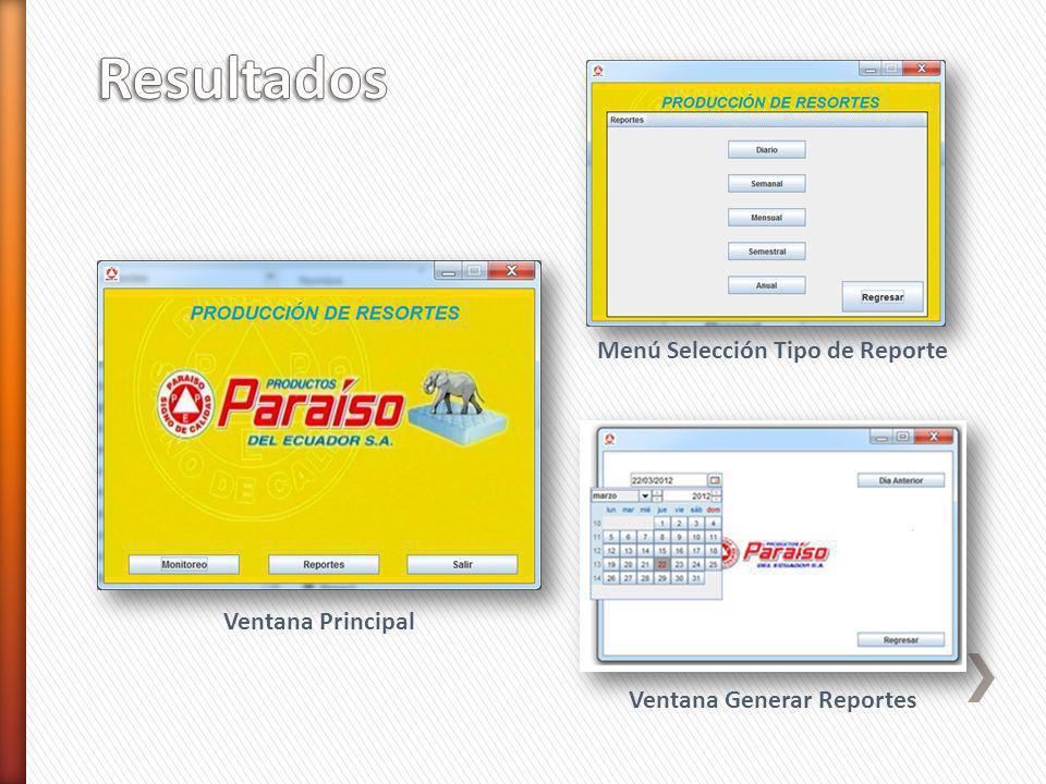 Ventana Principal Menú Selección Tipo de Reporte Ventana Generar Reportes