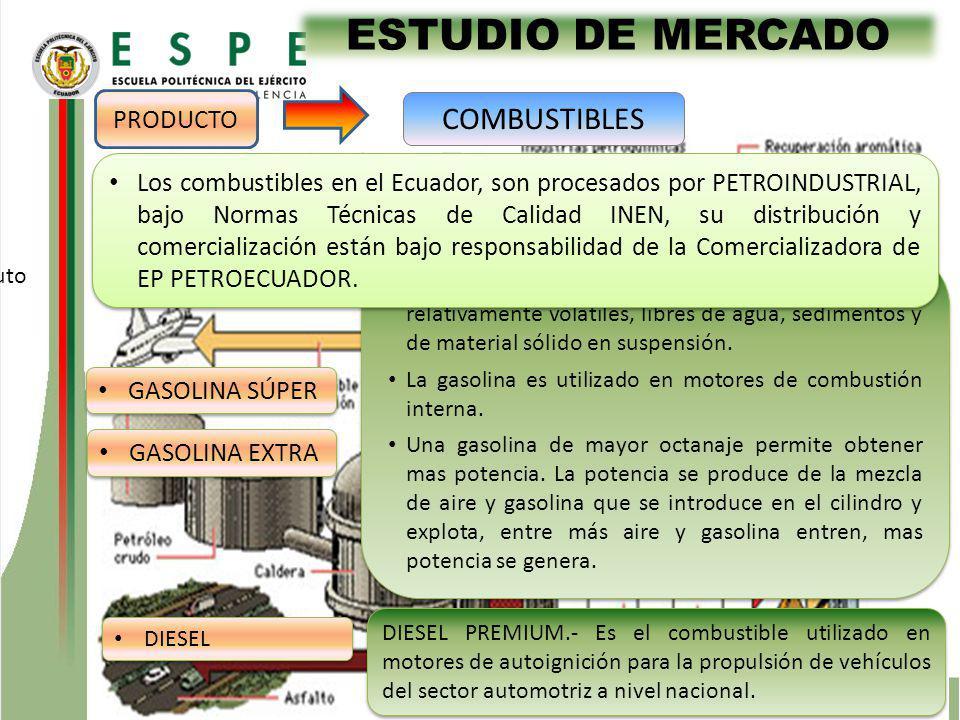ESTUDIO DE MERCADO GASOLINA SÚPER Gasolina, es la mezcla de hidrocarburos relativamente volátiles, libres de agua, sedimentos y de material sólido en