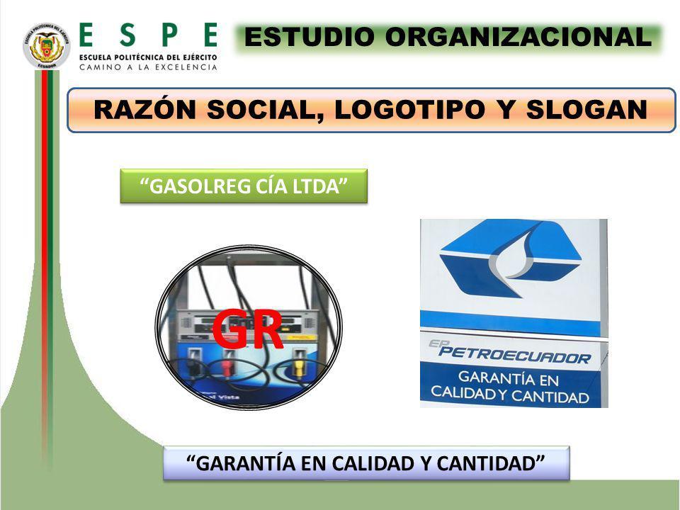 ESTUDIO ORGANIZACIONAL RAZÓN SOCIAL, LOGOTIPO Y SLOGAN GARANTÍA EN CALIDAD Y CANTIDAD GASOLREG CÍA LTDA GR