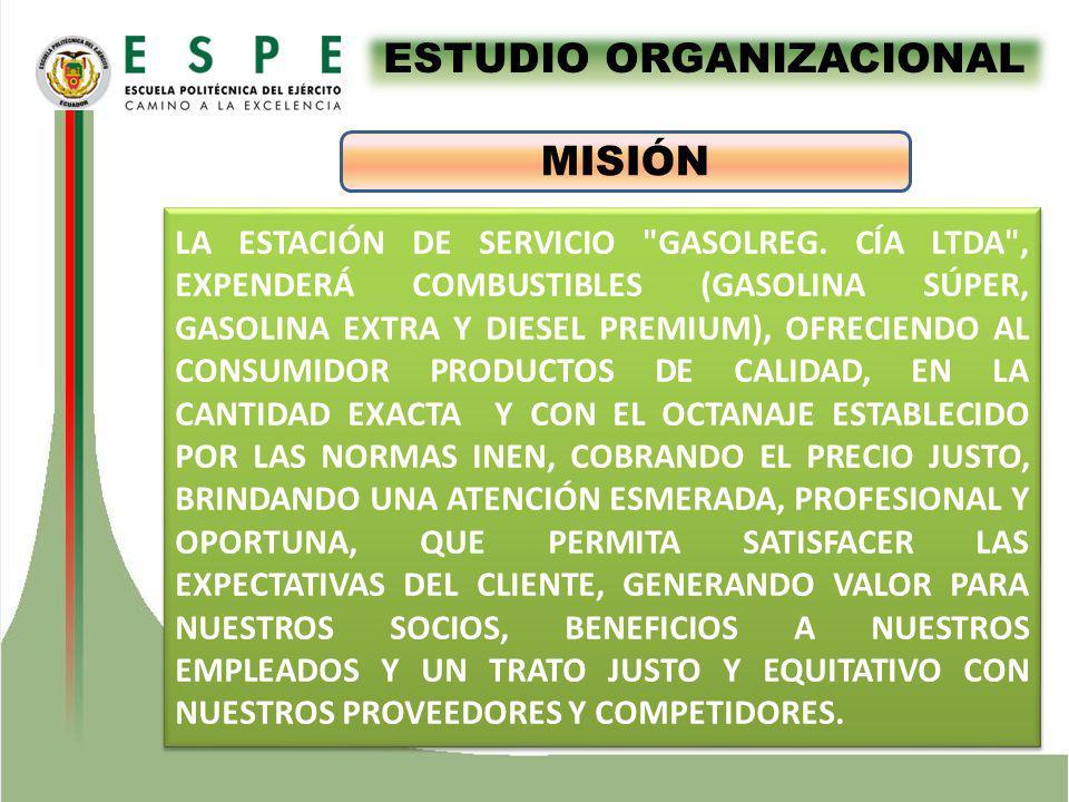 ESTUDIO ORGANIZACIONAL MISIÓN LA ESTACIÓN DE SERVICIO GASOLREG.