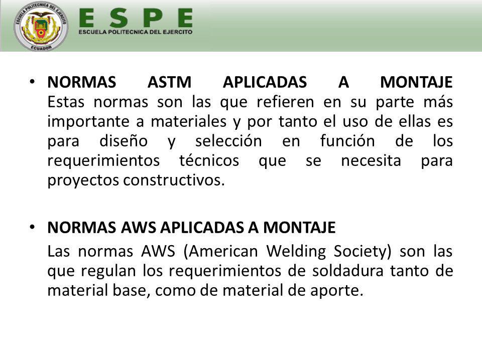 NORMAS ANSI APLICADAS A MONTAJE Estas son normas que regulan una amplia área en lo referente a accesorios y materiales prefabricados utilizados en el montaje y construcción.