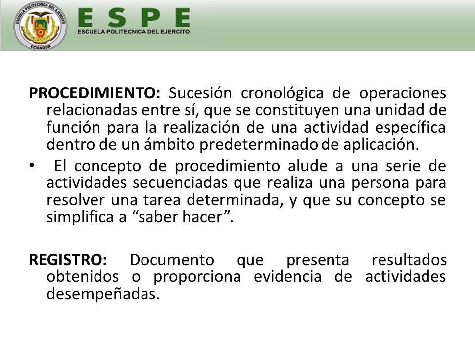ÍNDICE DE CONTENIDOS DE UN PROCEDIMIENTO OBJETIVO ALCANCE DEFINICIONES CARACTERÍSTICAS GENERALES DOCUMENTACIÓN DE REFERENCIA CALIFICACIÓN DEL PERSONAL EQUIPOS Y PRODUCTOS PROCEDIMIENTO DE EXAMEN CRITERIOS DE ACEPTABILIDAD DOCUMENTACIÓN RESPONSABILIDADES ANEXOS INSPECCIÓN Y PRUEBAS SEGURIDAD INDUSTRIAL MEDIO AMBIENTE ALMACENAMIENTO, EMBALAJE Y TRANSPORTE