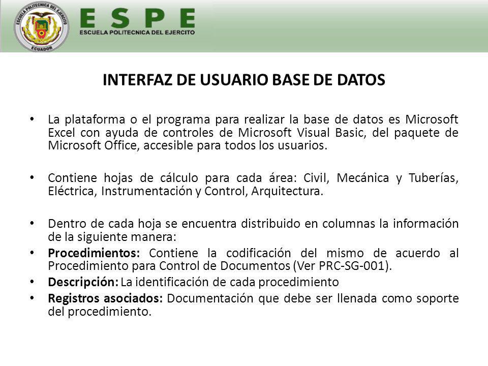 INTERFAZ DE USUARIO BASE DE DATOS Por el momento es una base de datos estática pero al realizar una actualización de la base de datos con la creación de nuevos procedimientos y registros se cargarán estos documentos a la misma.