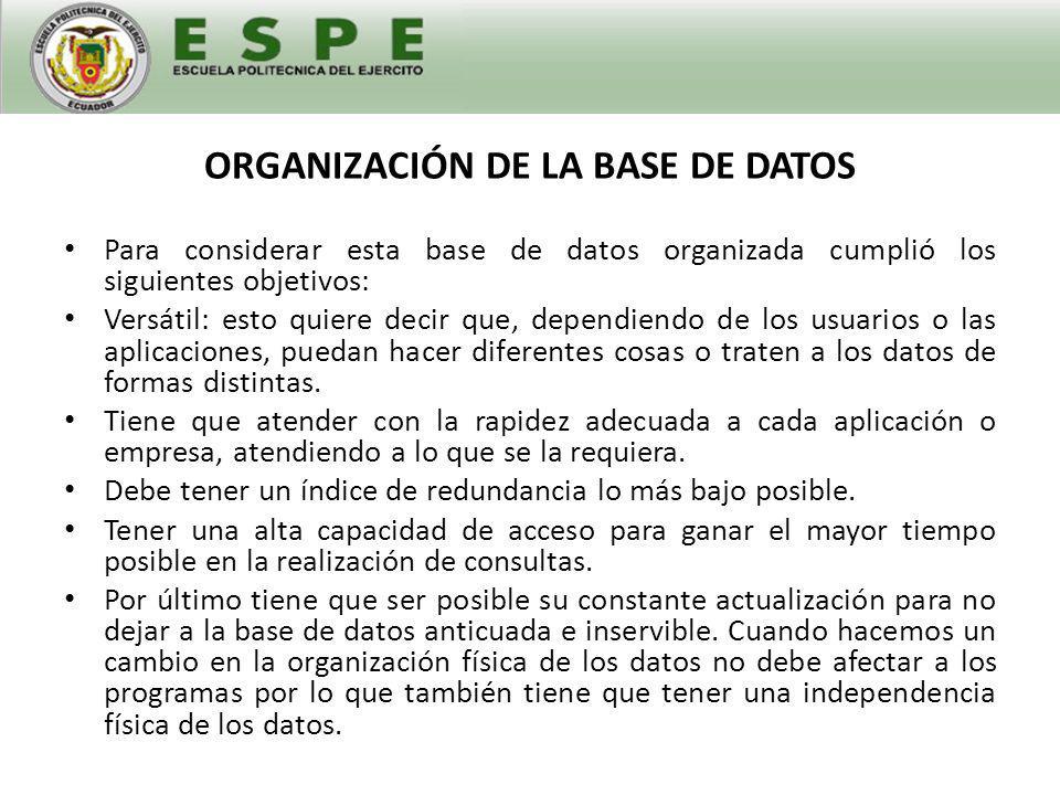 ORGANIZACIÓN DE LA BASE DE DATOS La base de datos funciona a través de enlaces con hojas de cálculo anexas a la hoja principal que posee la base de datos.