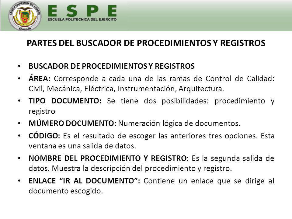 PARTES DEL BUSCADOR DE PROCEDIMIENTOS Y REGISTROS BUSCADOR DE PROCEDIMIENTOS Y REGISTROS