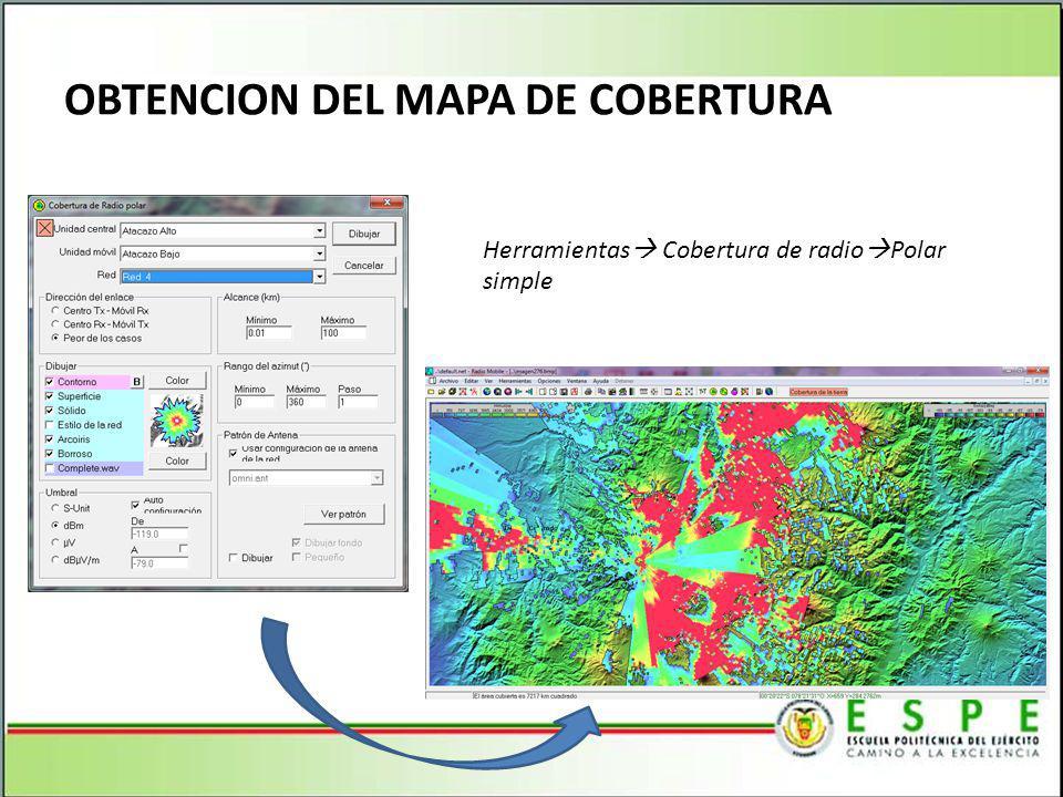 OBTENCION DEL MAPA DE COBERTURA Herramientas Cobertura de radio Polar simple