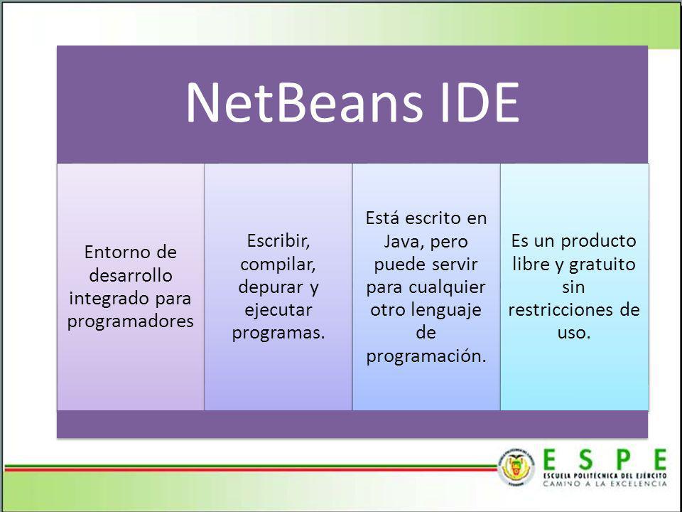 NetBeans IDE Entorno de desarrollo integrado para programadores Escribir, compilar, depurar y ejecutar programas.