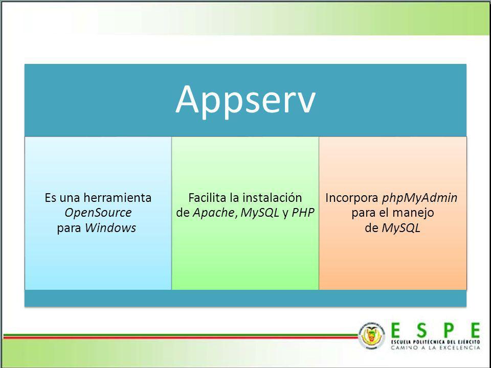Appserv Es una herramienta OpenSource para Windows Facilita la instalación de Apache, MySQL y PHP Incorpora phpMyAdmin para el manejo de MySQL