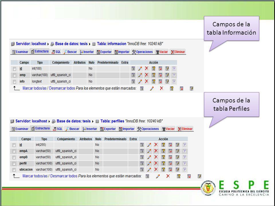 Campos de la tabla Información Campos de la tabla Perfiles