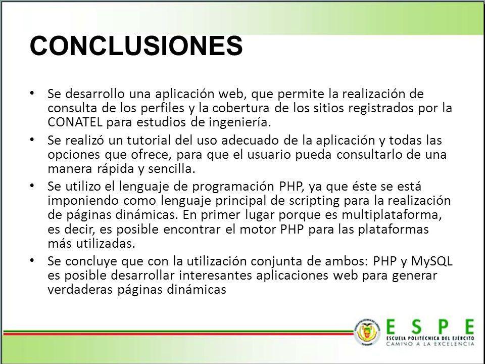 Se desarrollo una aplicación web, que permite la realización de consulta de los perfiles y la cobertura de los sitios registrados por la CONATEL para estudios de ingeniería.