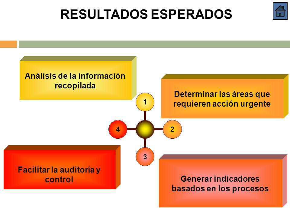 RESULTADOS ESPERADOS Análisis de la información recopilada 1234 Determinar las áreas que requieren acción urgente Generar indicadores basados en los p