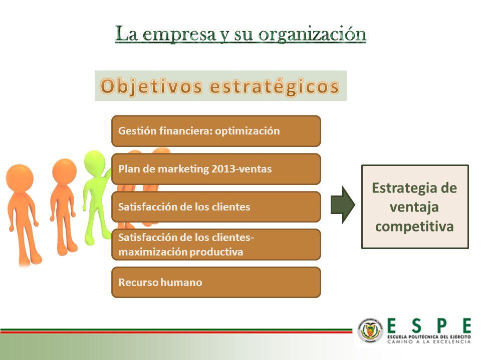 Gestión financiera: optimización Plan de marketing 2013-ventas Satisfacción de los clientes Satisfacción de los clientes- maximización productiva Recu