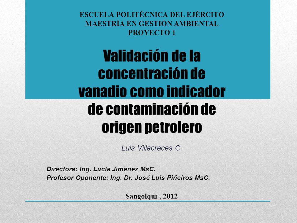 Validación de la concentración de vanadio como indicador de contaminación de origen petrolero PROPIEDADES DEL PETRÓLEO CRUDO BSW (%)º APIS (%)cSt 40ºC MÁXIMO0,635,92,0480,00 MÍNIMO0,116,40,104,25 MEDIANA0,3281,0022,14