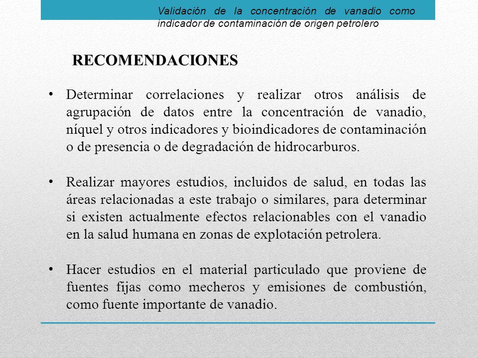 Validación de la concentración de vanadio como indicador de contaminación de origen petrolero RECOMENDACIONES Determinar correlaciones y realizar otros análisis de agrupación de datos entre la concentración de vanadio, níquel y otros indicadores y bioindicadores de contaminación o de presencia o de degradación de hidrocarburos.