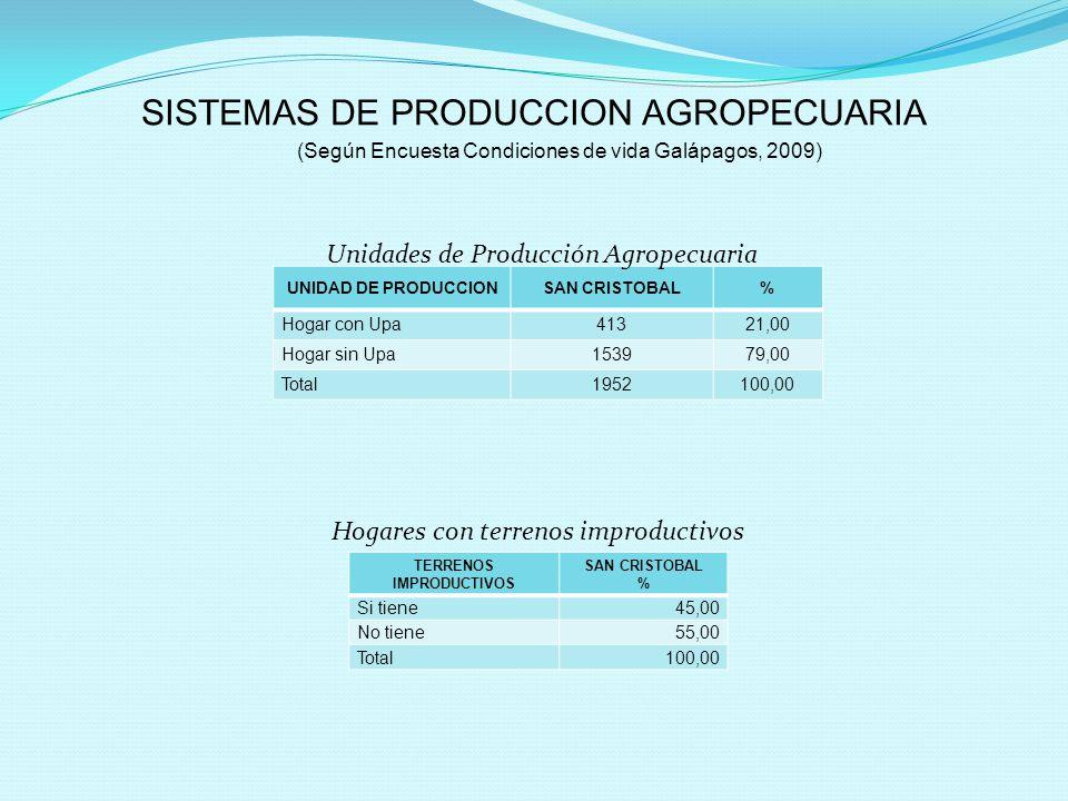 SISTEMAS DE PRODUCCION AGROPECUARIA (Según Encuesta Condiciones de vida Galápagos, 2009) UNIDAD DE PRODUCCIONSAN CRISTOBAL% Hogar con Upa41321,00 Hoga