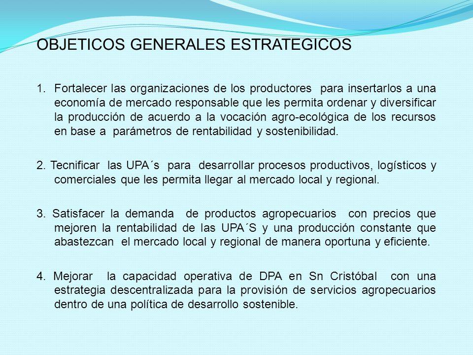 OBJETICOS GENERALES ESTRATEGICOS 1. Fortalecer las organizaciones de los productores para insertarlos a una economía de mercado responsable que les pe