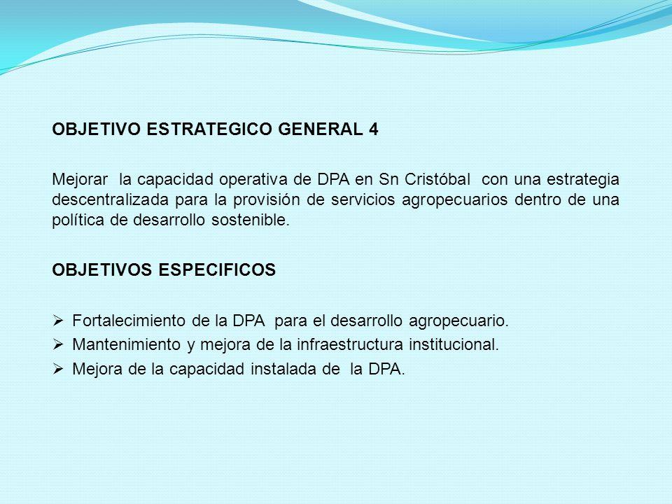 OBJETIVO ESTRATEGICO GENERAL 4 Mejorar la capacidad operativa de DPA en Sn Cristóbal con una estrategia descentralizada para la provisión de servicios agropecuarios dentro de una política de desarrollo sostenible.