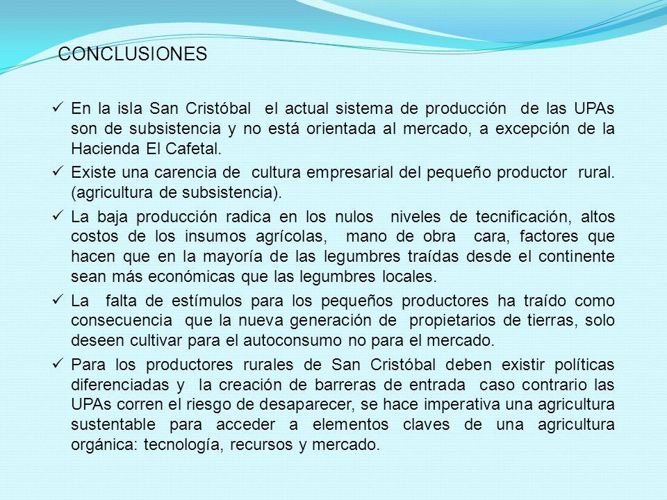 CONCLUSIONES En la isla San Cristóbal el actual sistema de producción de las UPAs son de subsistencia y no está orientada al mercado, a excepción de la Hacienda El Cafetal.