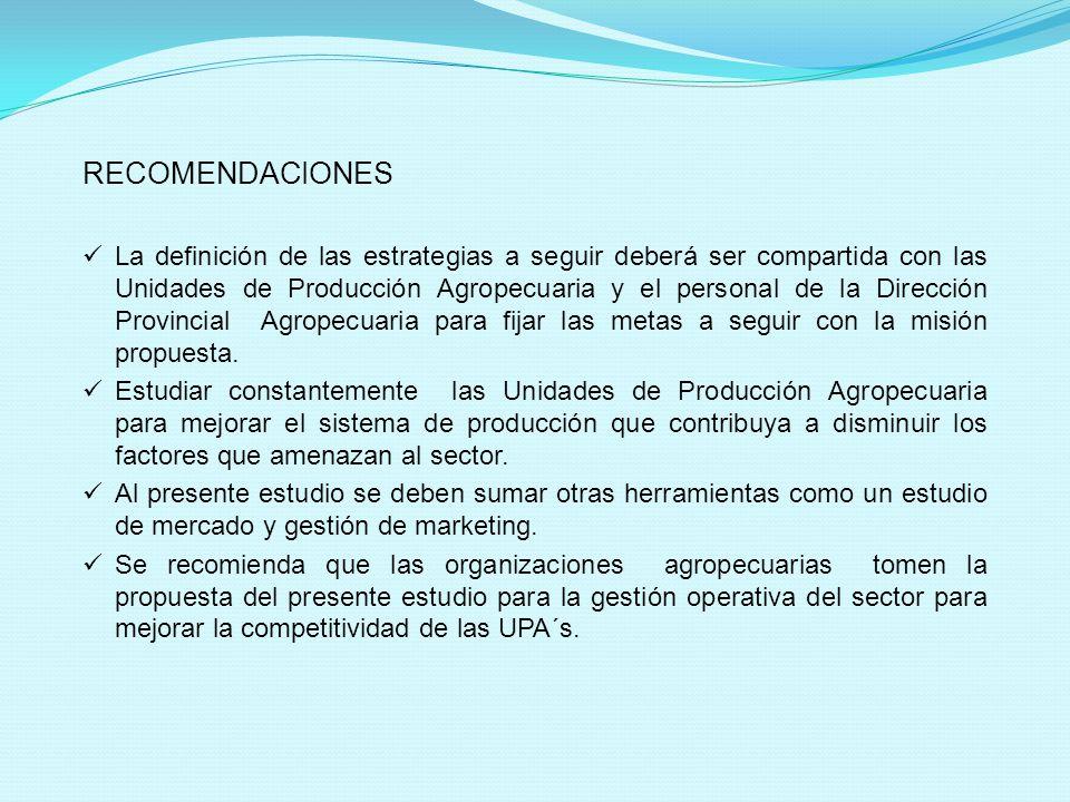 RECOMENDACIONES La definición de las estrategias a seguir deberá ser compartida con las Unidades de Producción Agropecuaria y el personal de la Direcc