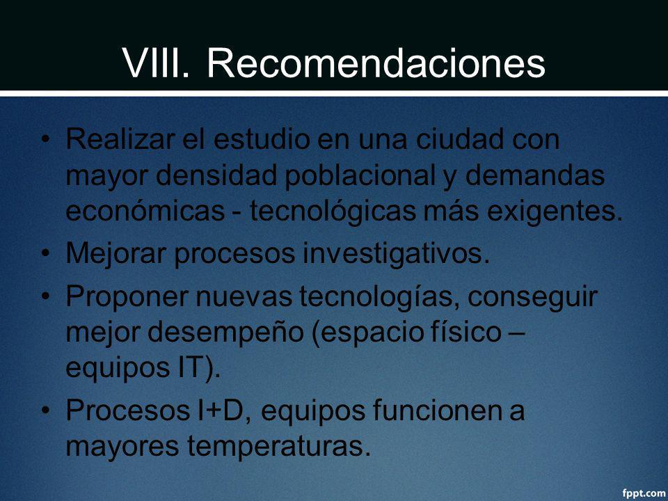 VIII. Recomendaciones Realizar el estudio en una ciudad con mayor densidad poblacional y demandas económicas - tecnológicas más exigentes. Mejorar pro