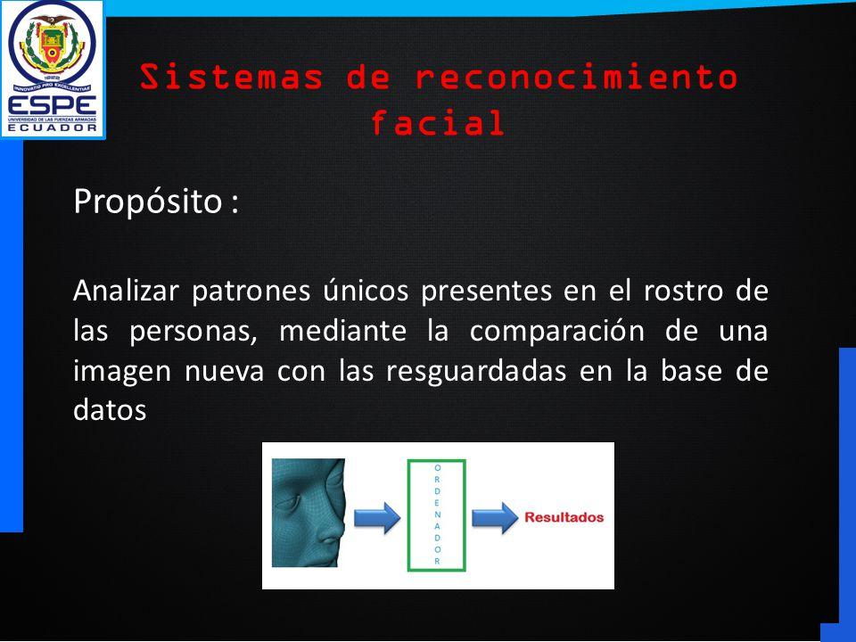 Propósito : Analizar patrones únicos presentes en el rostro de las personas, mediante la comparación de una imagen nueva con las resguardadas en la ba