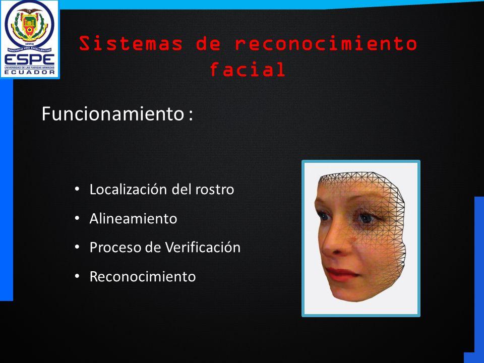 Funcionamiento : Localización del rostro Alineamiento Proceso de Verificación Reconocimiento Sistemas de reconocimiento facial