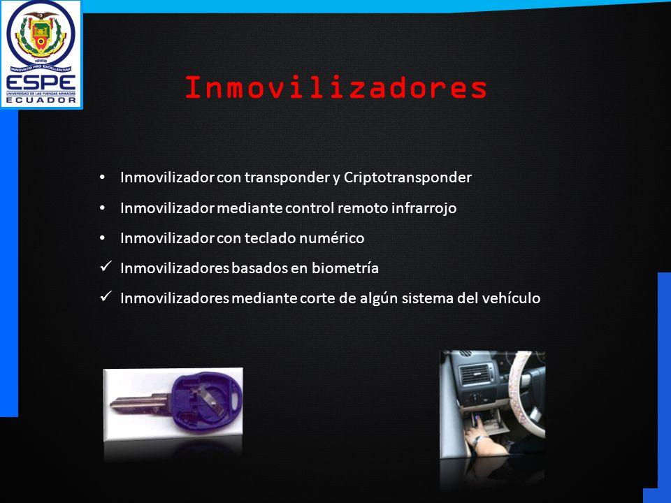 Inmovilizador con transponder y Criptotransponder Inmovilizador mediante control remoto infrarrojo Inmovilizador con teclado numérico Inmovilizadores