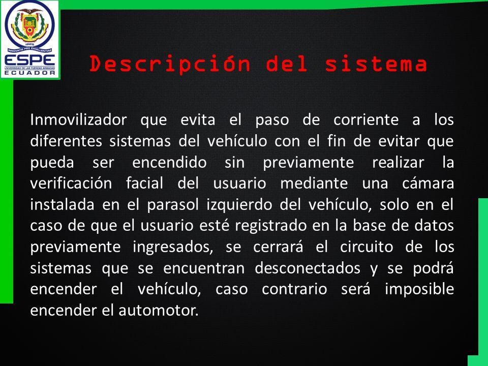 Descripción del sistema Inmovilizador que evita el paso de corriente a los diferentes sistemas del vehículo con el fin de evitar que pueda ser encendi