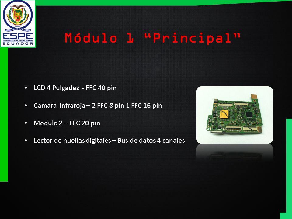 Módulo 1 Principal LCD 4 Pulgadas - FFC 40 pin Camara infraroja – 2 FFC 8 pin 1 FFC 16 pin Modulo 2 – FFC 20 pin Lector de huellas digitales – Bus de