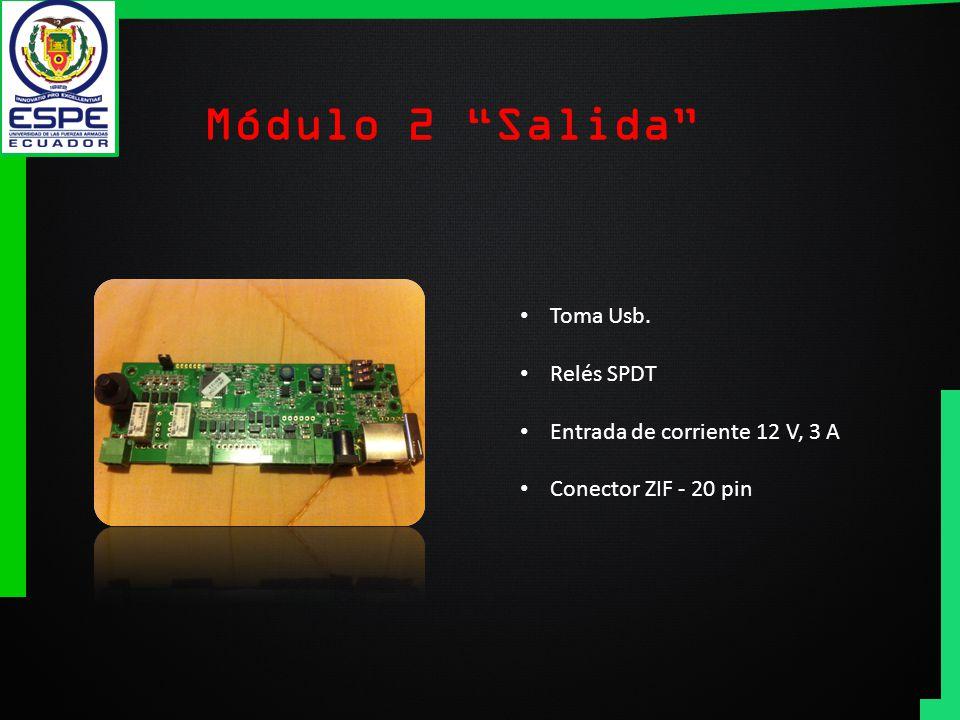 Módulo 2 Salida Toma Usb. Relés SPDT Entrada de corriente 12 V, 3 A Conector ZIF - 20 pin