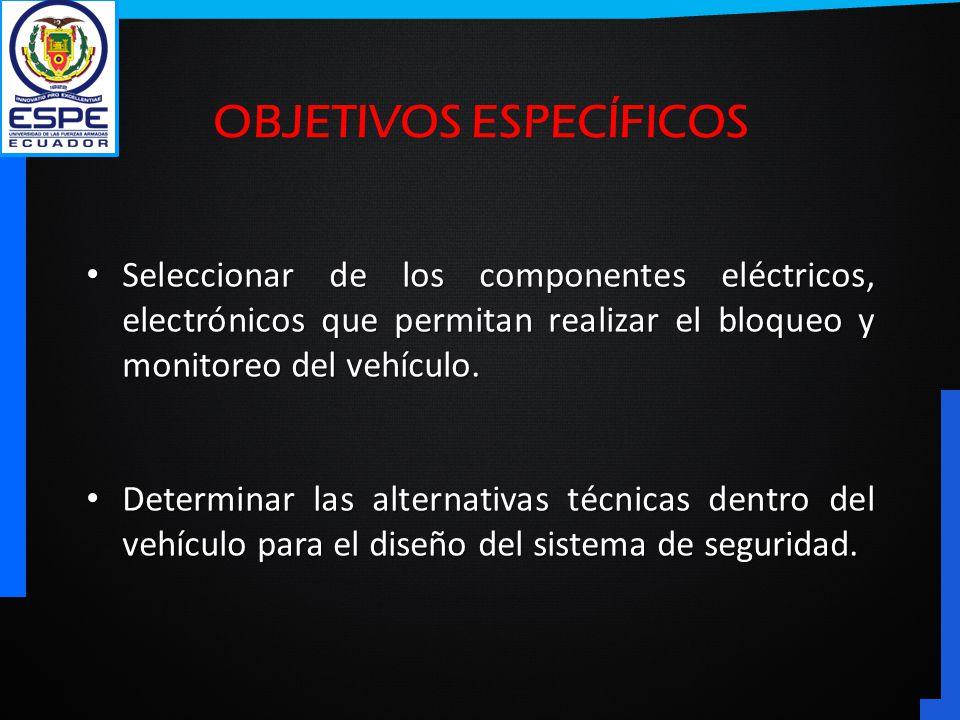 Seleccionar de los componentes eléctricos, electrónicos que permitan realizar el bloqueo y monitoreo del vehículo. Seleccionar de los componentes eléc
