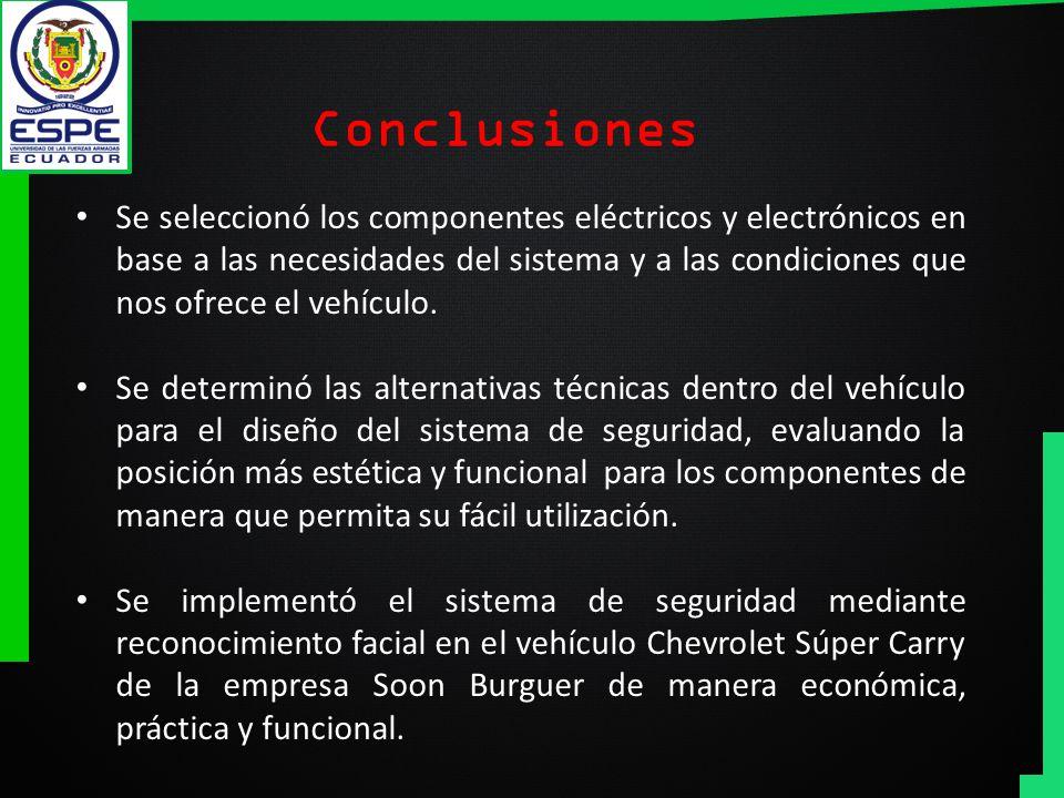 Conclusiones Se seleccionó los componentes eléctricos y electrónicos en base a las necesidades del sistema y a las condiciones que nos ofrece el vehíc