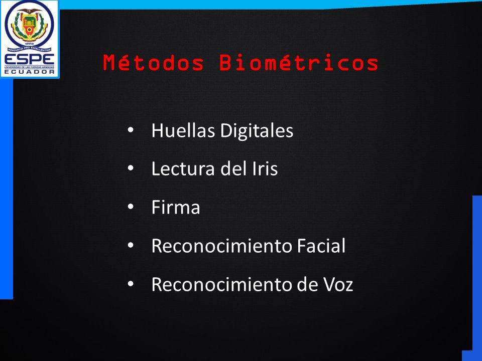 Huellas Digitales Lectura del Iris Firma Reconocimiento Facial Reconocimiento de Voz Métodos Biométricos