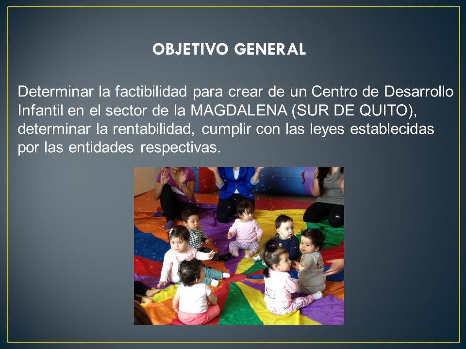 OBJETIVO GENERAL Determinar la factibilidad para crear de un Centro de Desarrollo Infantil en el sector de la MAGDALENA (SUR DE QUITO), determinar la rentabilidad, cumplir con las leyes establecidas por las entidades respectivas.