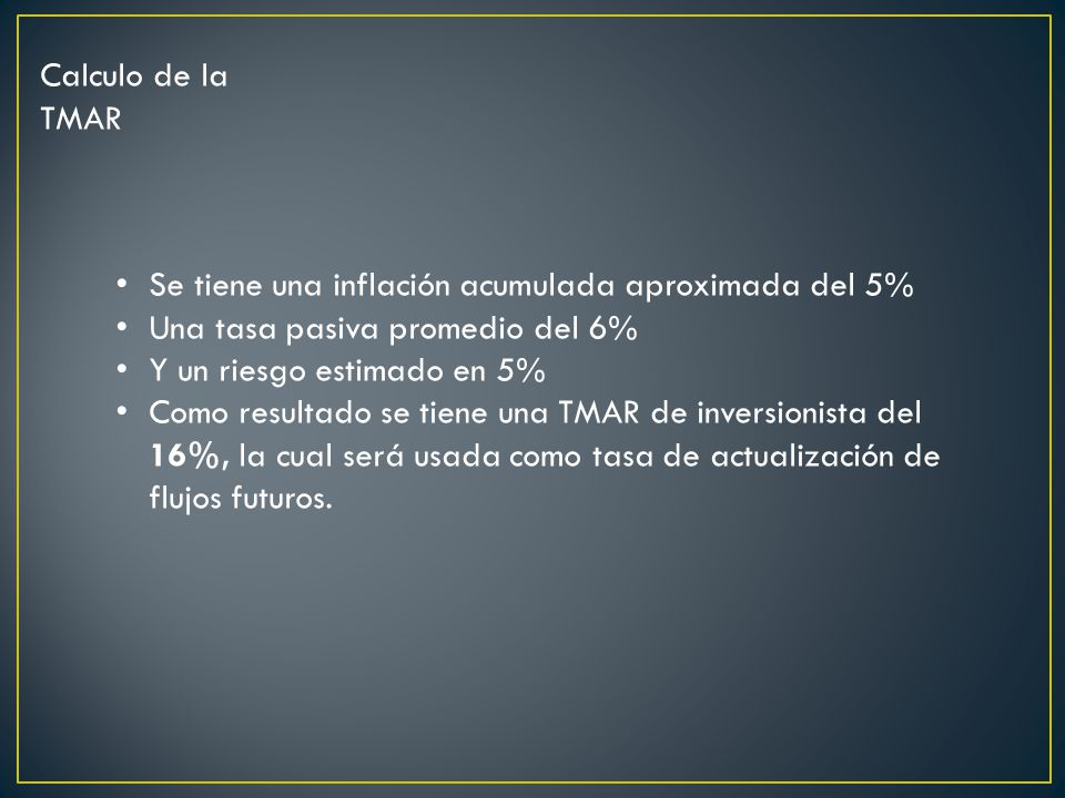 Calculo de la TMAR Se tiene una inflación acumulada aproximada del 5% Una tasa pasiva promedio del 6% Y un riesgo estimado en 5% Como resultado se tiene una TMAR de inversionista del 16%, la cual será usada como tasa de actualización de flujos futuros.