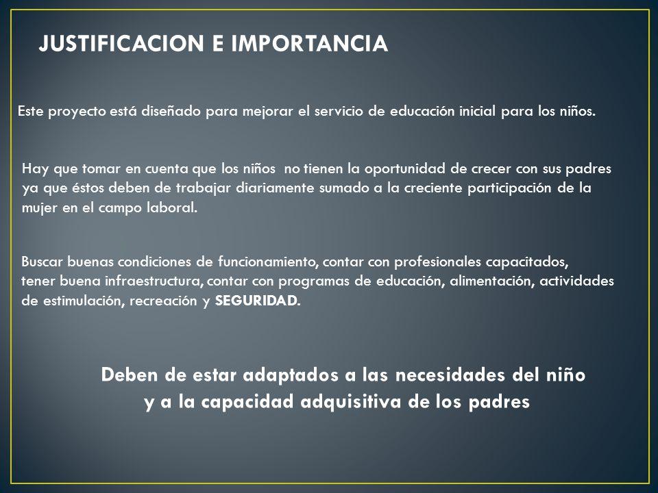 JUSTIFICACION E IMPORTANCIA Buscar buenas condiciones de funcionamiento, contar con profesionales capacitados, tener buena infraestructura, contar con programas de educación, alimentación, actividades de estimulación, recreación y SEGURIDAD.