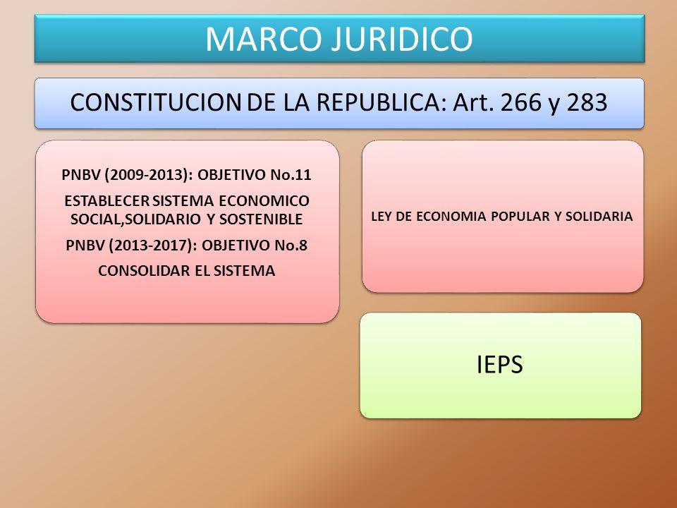 MARCO JURIDICO CONSTITUCION DE LA REPUBLICA: Art. 266 y 283 PNBV (2009-2013): OBJETIVO No.11 ESTABLECER SISTEMA ECONOMICO SOCIAL,SOLIDARIO Y SOSTENIBL