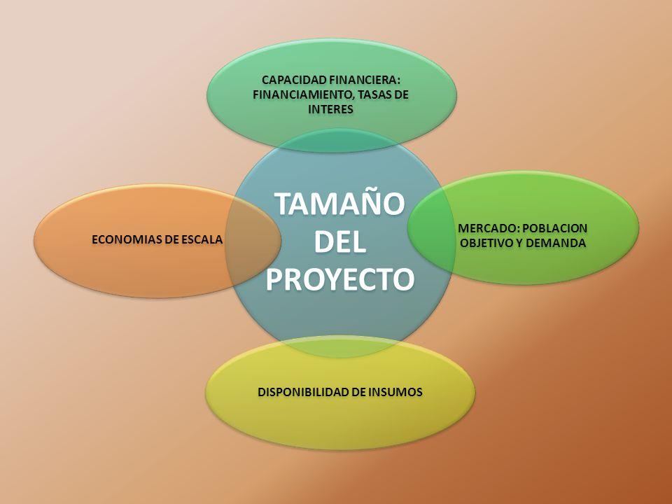 TAMAÑO DEL PROYECTO CAPACIDAD FINANCIERA: FINANCIAMIENTO, TASAS DE INTERES MERCADO: POBLACION OBJETIVO Y DEMANDA DISPONIBILIDAD DE INSUMOSECONOMIAS DE