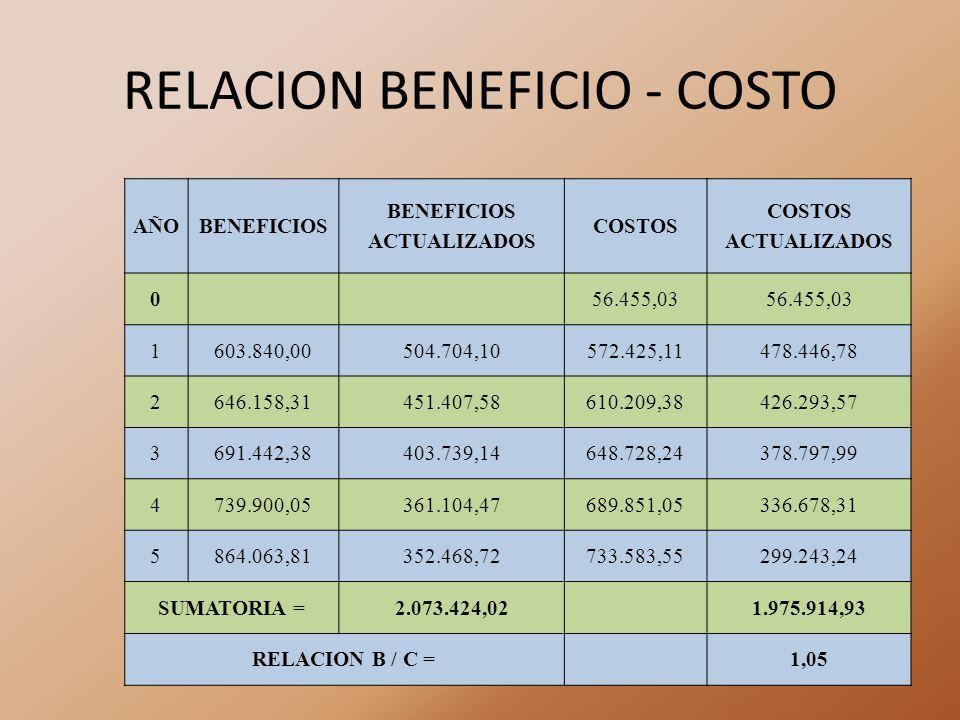 RELACION BENEFICIO - COSTO AÑOBENEFICIOS BENEFICIOS ACTUALIZADOS COSTOS COSTOS ACTUALIZADOS 056.455,03 1603.840,00504.704,10572.425,11478.446,78 2646.