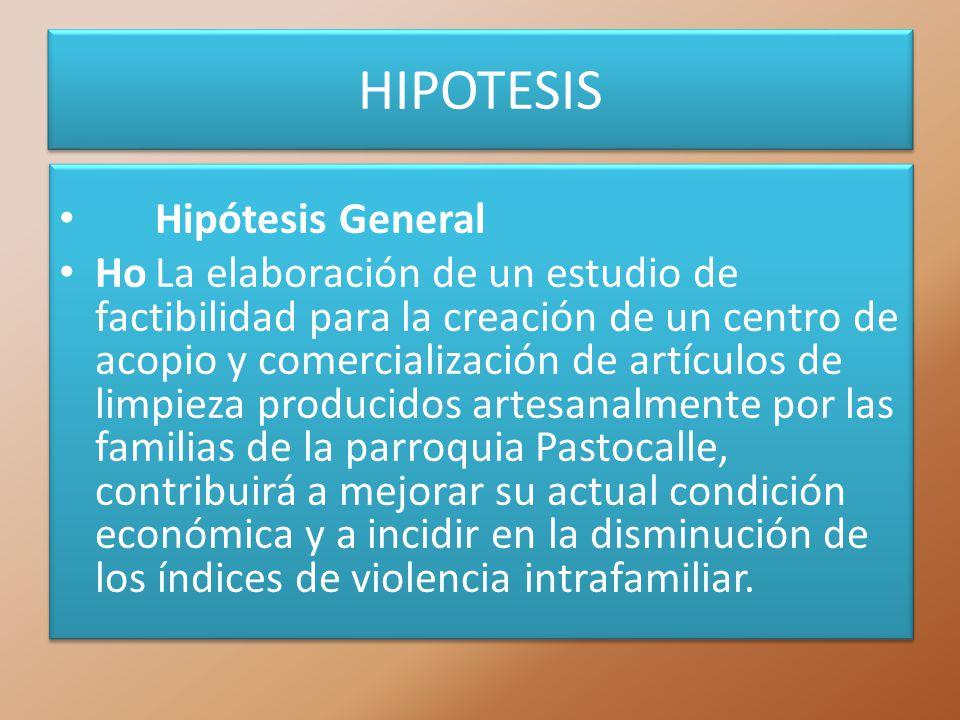 HIPOTESIS Hipótesis General HoLa elaboración de un estudio de factibilidad para la creación de un centro de acopio y comercialización de artículos de