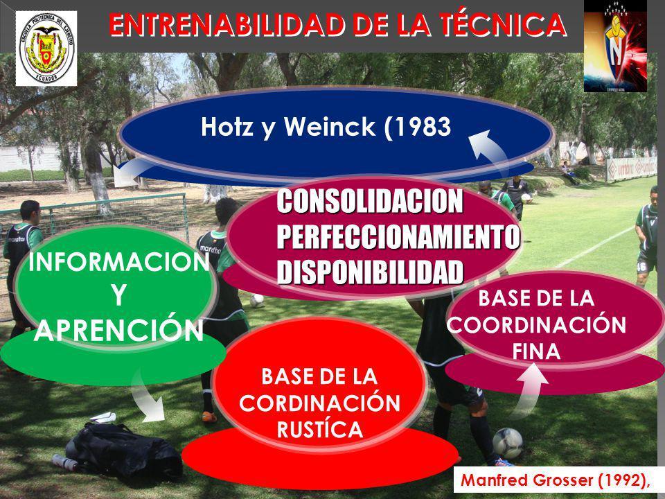ENTRENABILIDAD DE LA TÉCNICA Manfred Grosser (1992), BASE DE LA CORDINACIÓN RUSTÍCA INFORMACION Y APRENCIÓN BASE DE LA COORDINACIÓN FINA Hotz y Weinck